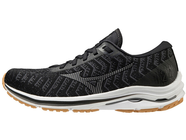 Mizuno Wave Rider 24 Waveknit Scarpe Donna, black/dark shadow/biscuit
